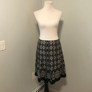 Black Patterned Ann Taylor A-Line Skirt